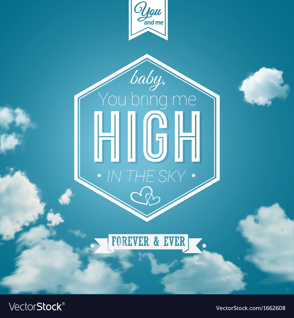 Lovely poster in retro style on a summer sky vector | Price: 1 Credit (USD $1)