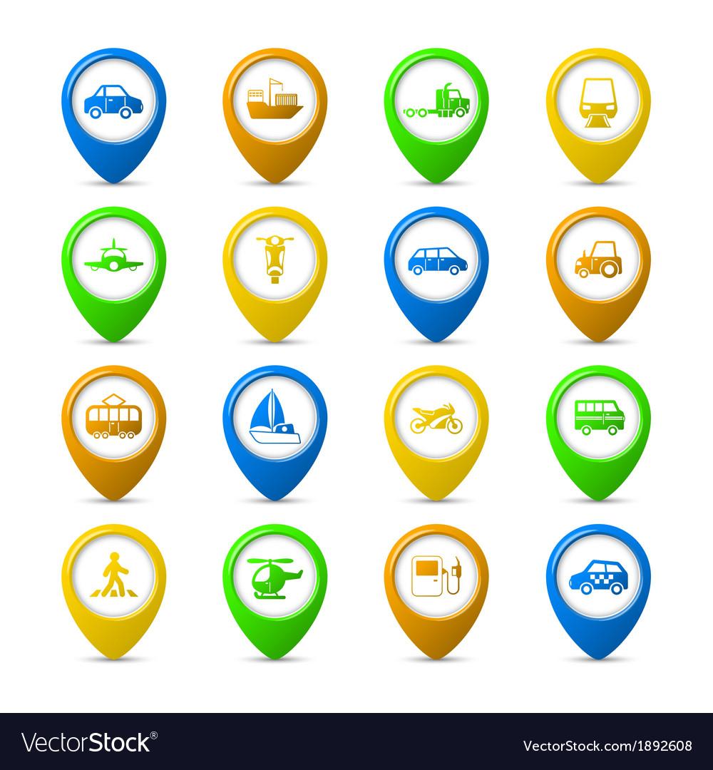 Navigation pins set vector | Price: 1 Credit (USD $1)