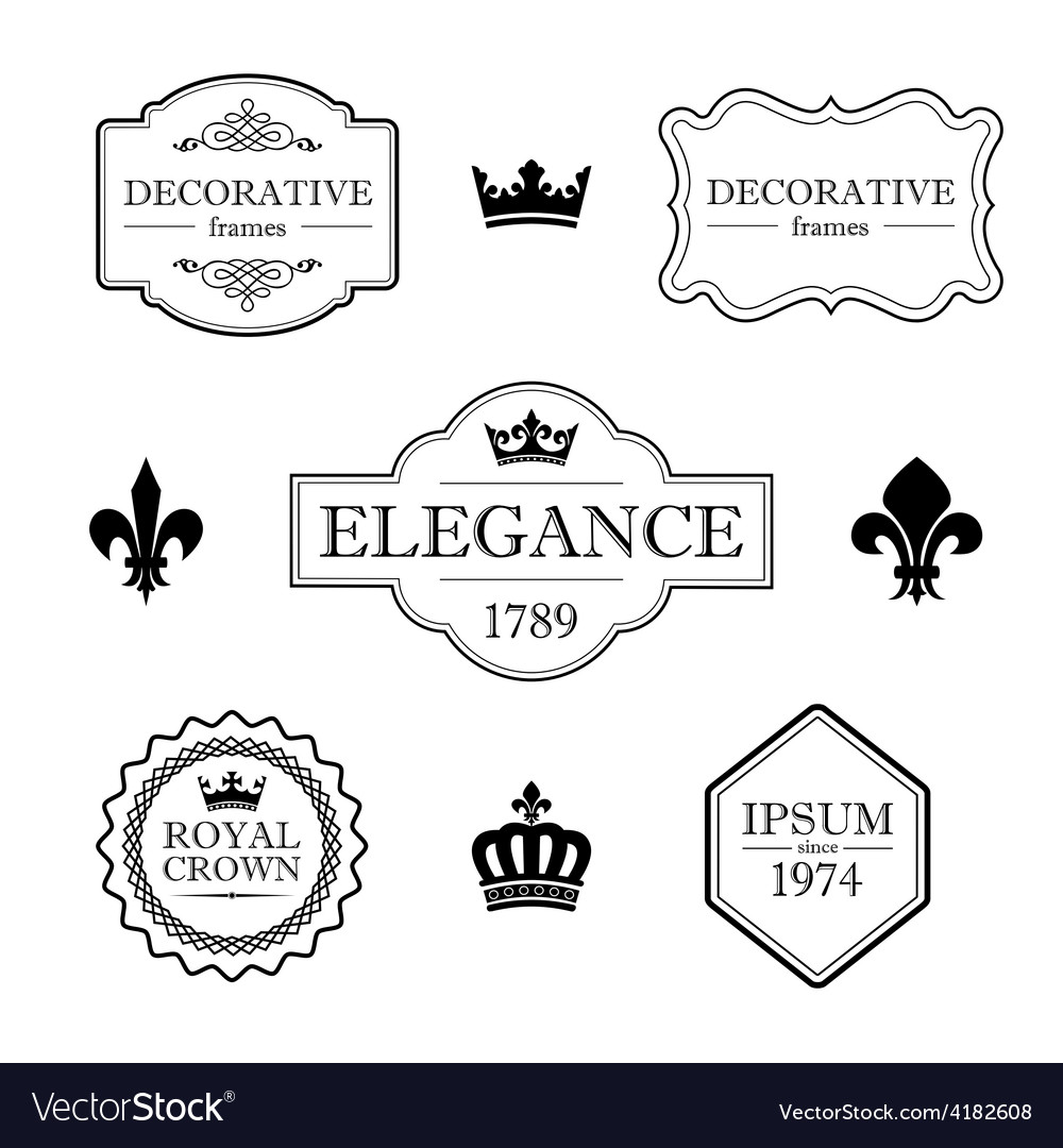 Set of vintage flourish frames borders and signs vector | Price: 1 Credit (USD $1)
