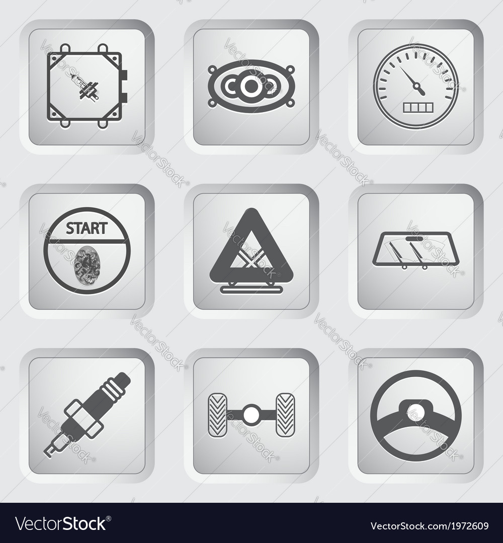 Car part and service icons set 7 vector | Price: 1 Credit (USD $1)