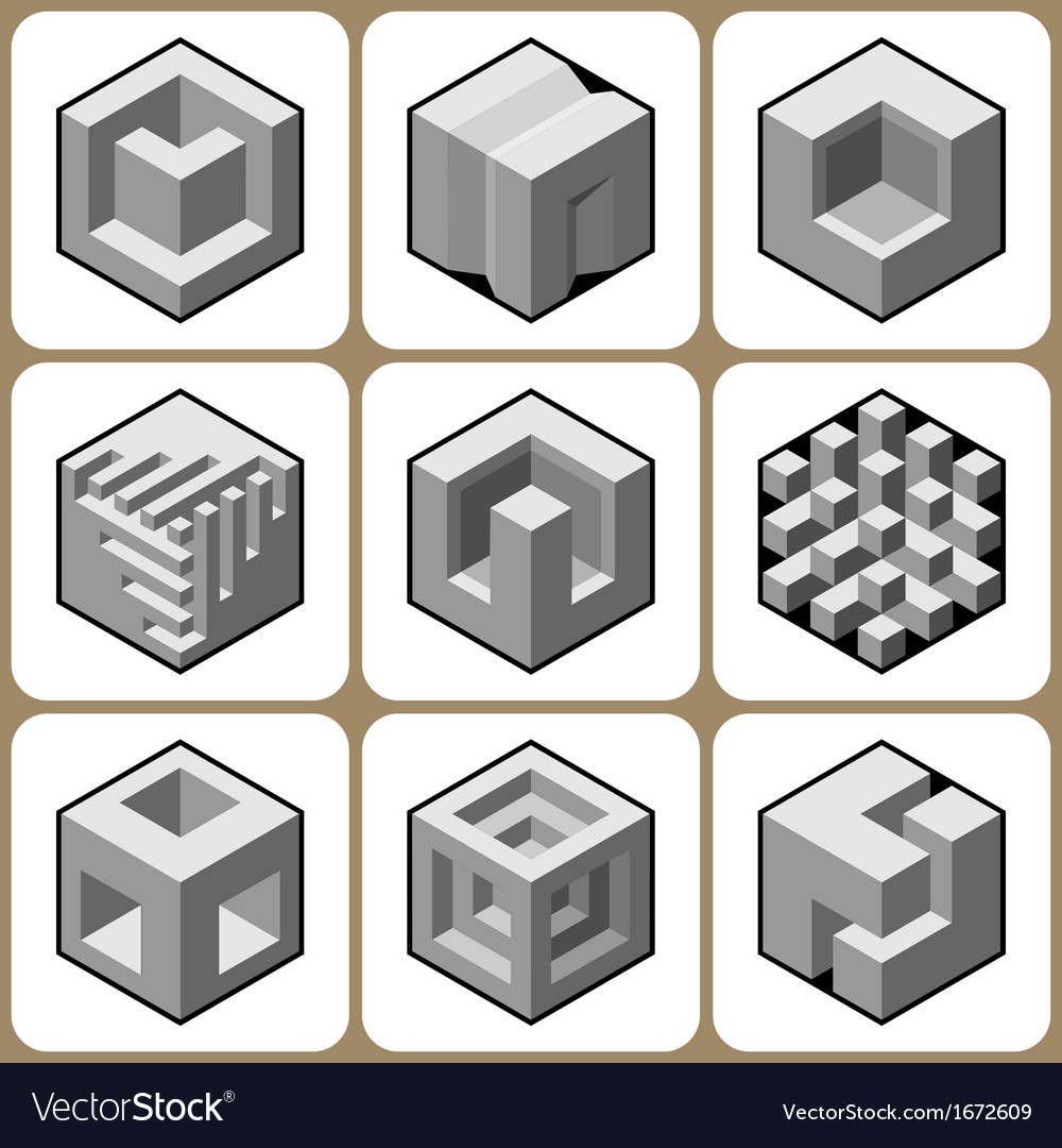 Cube icon set 5 vector | Price: 1 Credit (USD $1)