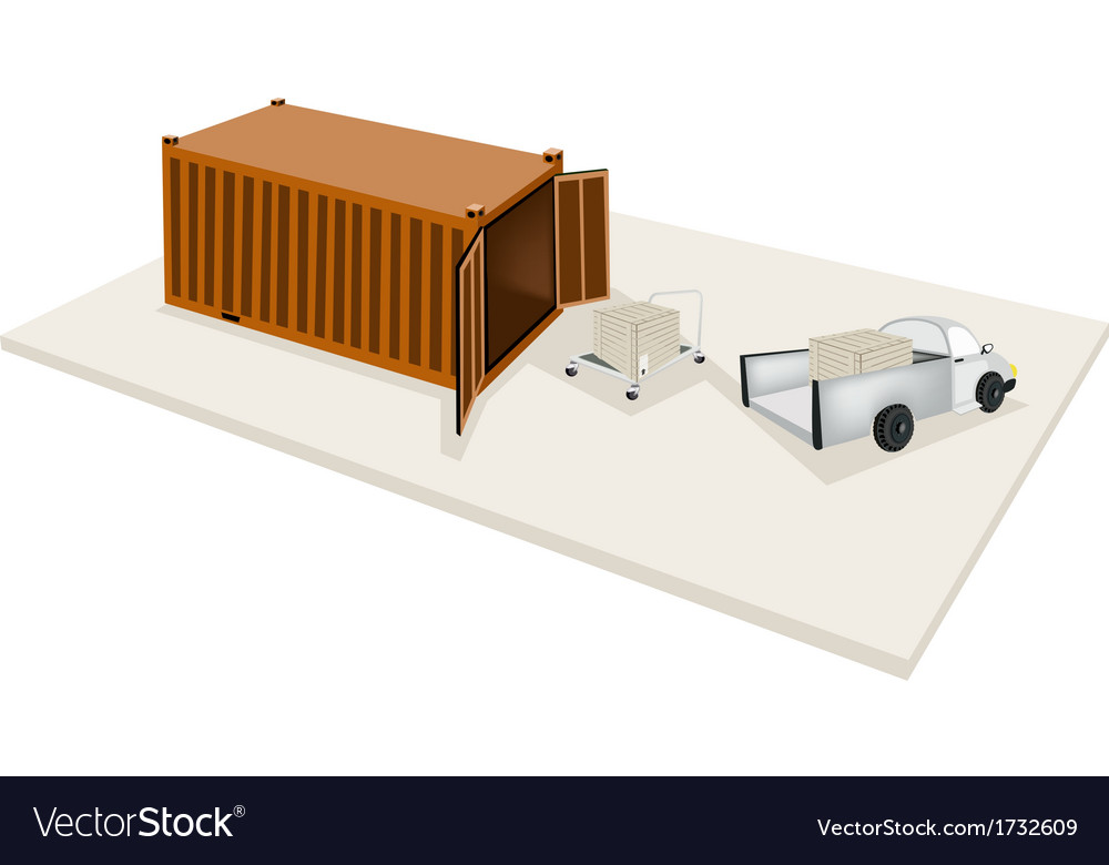 Hand truck loading shipping box into container vector | Price: 1 Credit (USD $1)