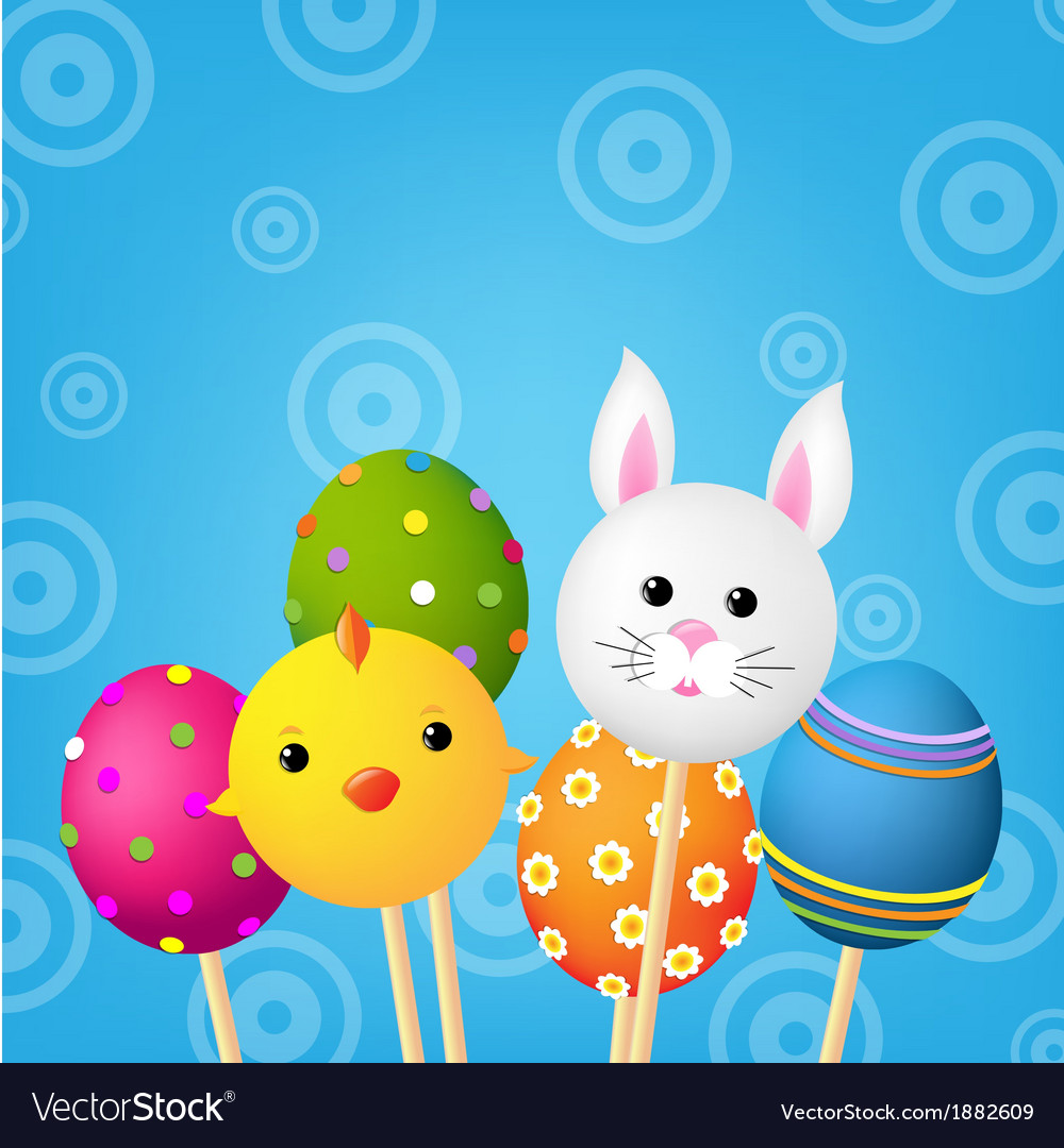 Happy easter color card vector | Price: 1 Credit (USD $1)