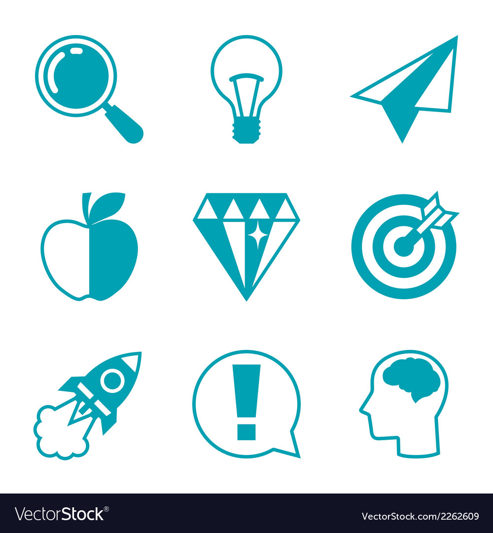 Idea concept icons in flat design style vector | Price: 1 Credit (USD $1)