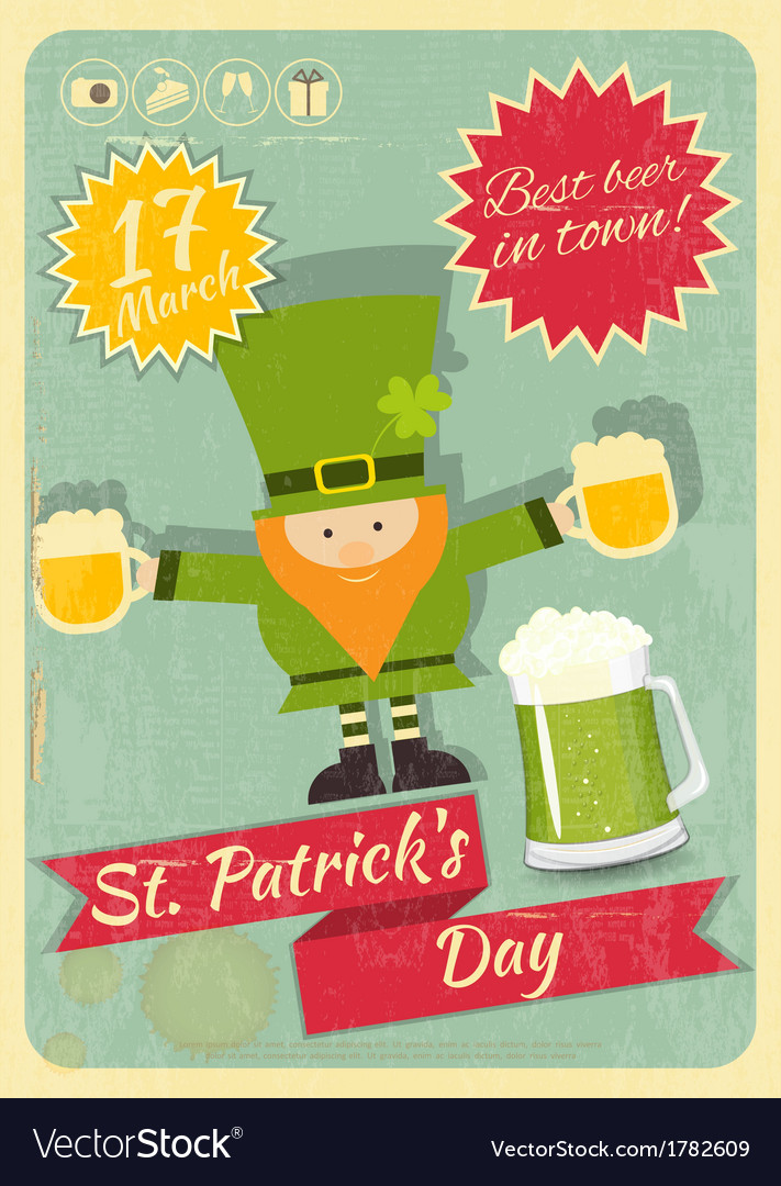 Patricks day retro card vector | Price: 1 Credit (USD $1)