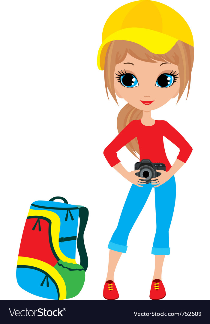 Pretty girl with camera vector | Price: 3 Credit (USD $3)