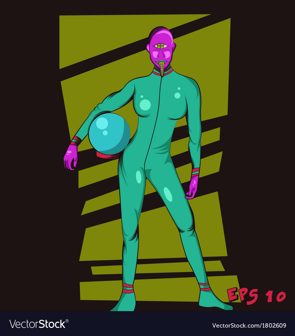 Purple head alien vector | Price: 1 Credit (USD $1)