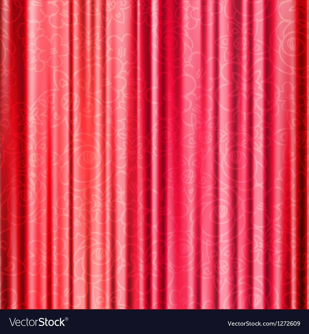 Red background with opera curtains with floral vector | Price: 1 Credit (USD $1)