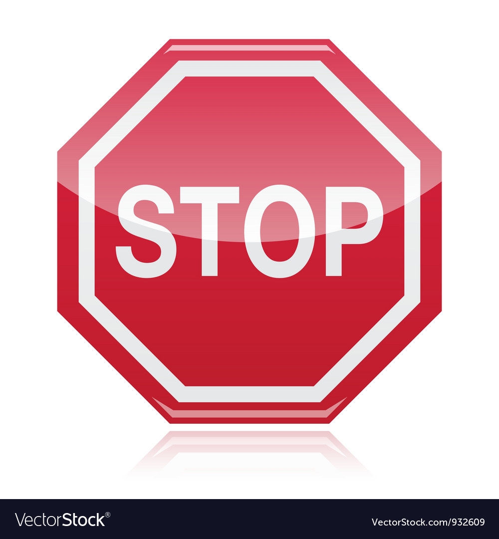 Stop warning road sign vector | Price: 1 Credit (USD $1)