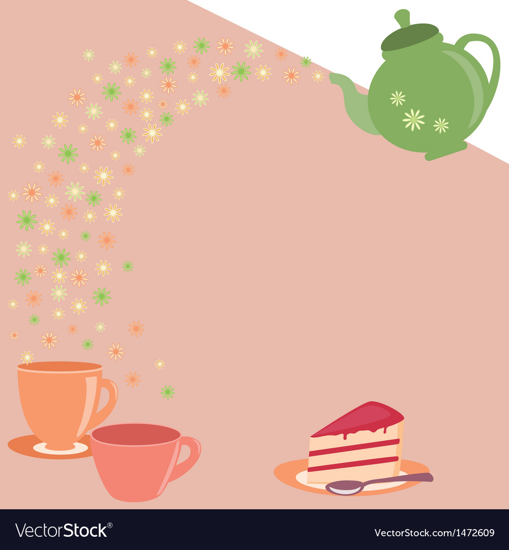 Tea card with teapot cups and flowers vector | Price: 1 Credit (USD $1)