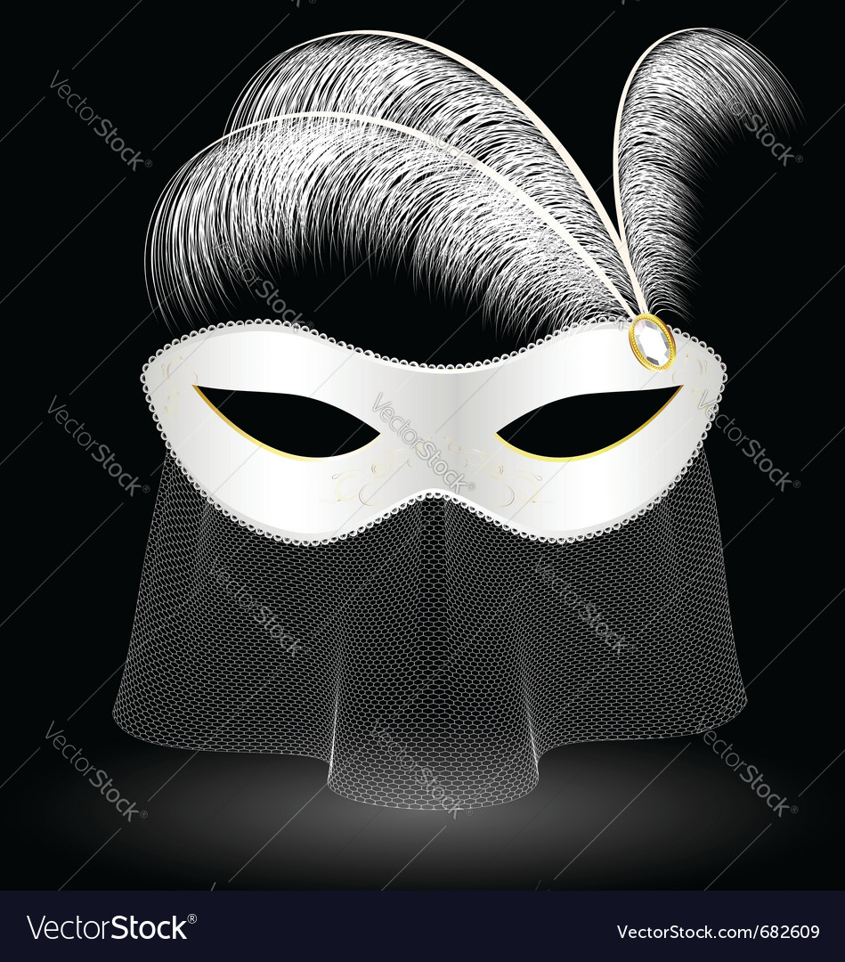 White carnival half-mask and feathers vector | Price: 3 Credit (USD $3)