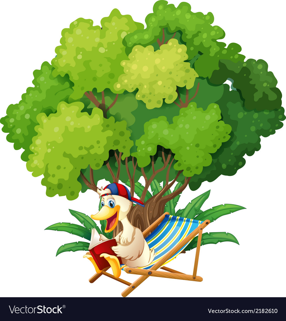 A duck reading under the tree vector | Price: 1 Credit (USD $1)