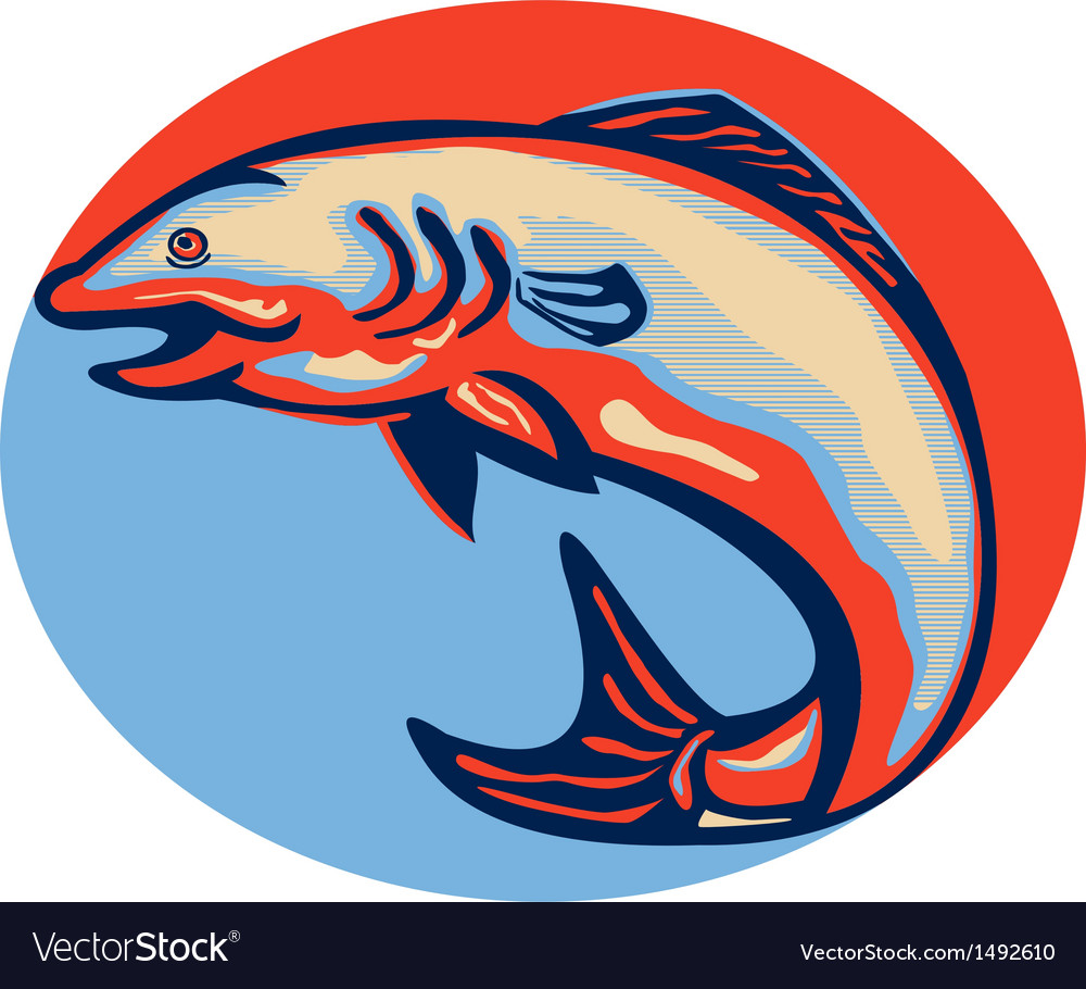 Atlantic salmon fish jumping retro vector | Price: 1 Credit (USD $1)