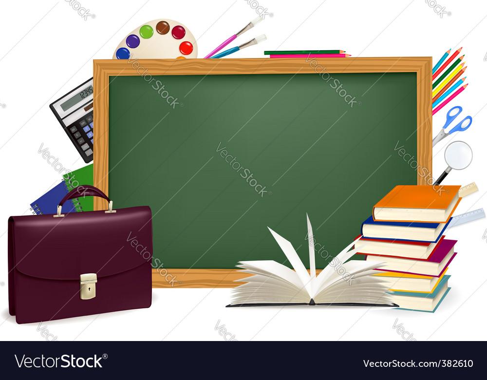 Back to school green desk vector | Price: 1 Credit (USD $1)