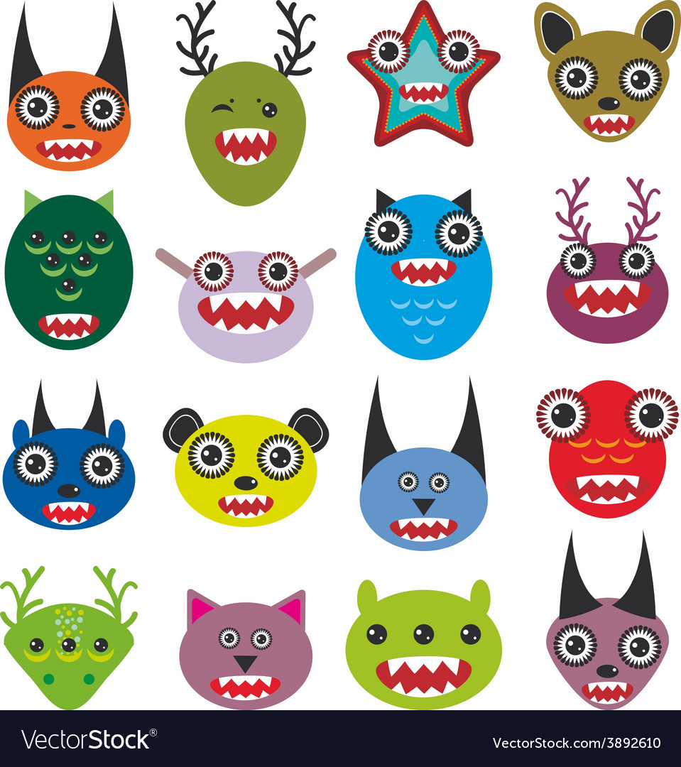 Cute cartoon monsters set big collection on white vector | Price: 1 Credit (USD $1)