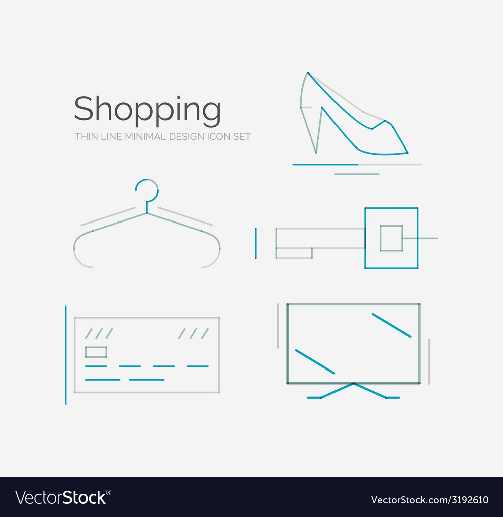 Outline design shopping icon set vector | Price: 1 Credit (USD $1)