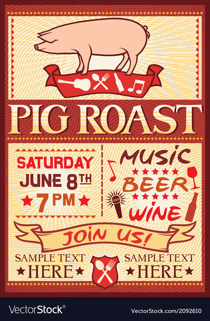 Pig roast poster vector | Price: 1 Credit (USD $1)