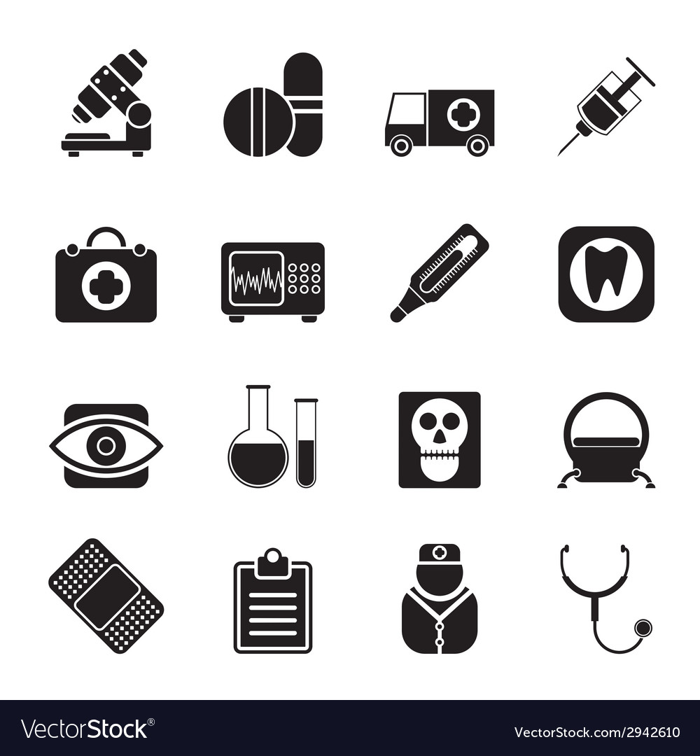 Silhouette medical and health care icons vector | Price: 1 Credit (USD $1)