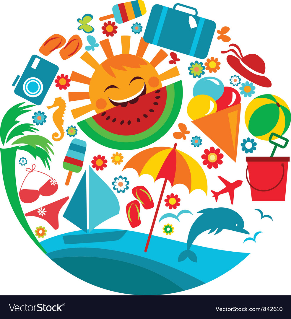 Summer vacation template of summer icons vector | Price: 3 Credit (USD $3)