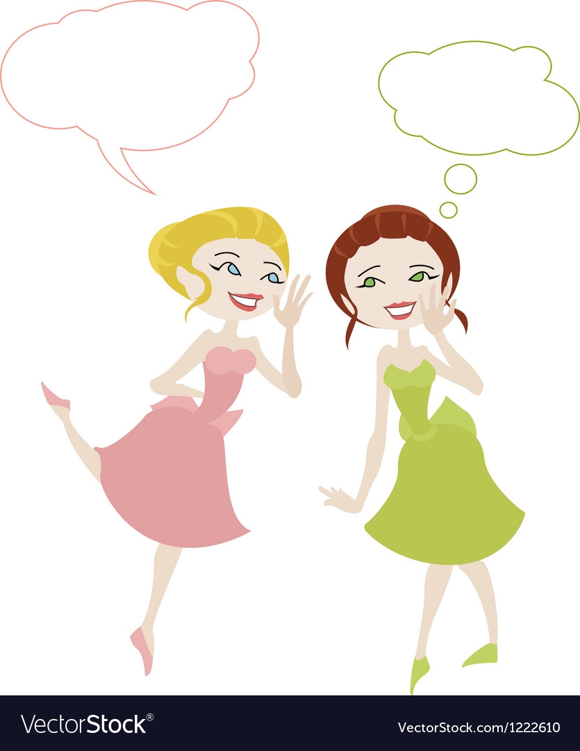 Two girls in cartoon style sharing secrets vector | Price: 1 Credit (USD $1)