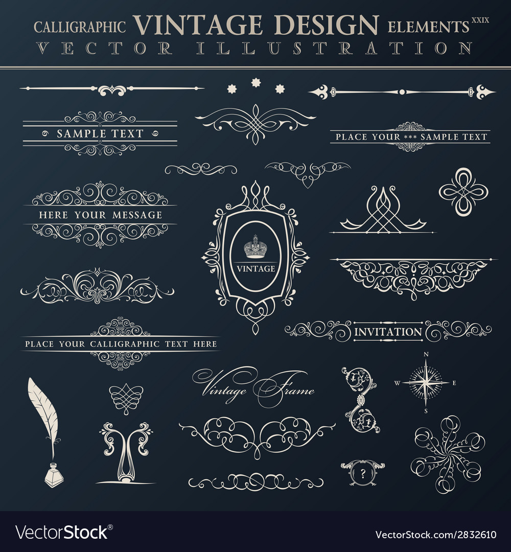 Vintage set calligraphic elements and page vector | Price: 1 Credit (USD $1)