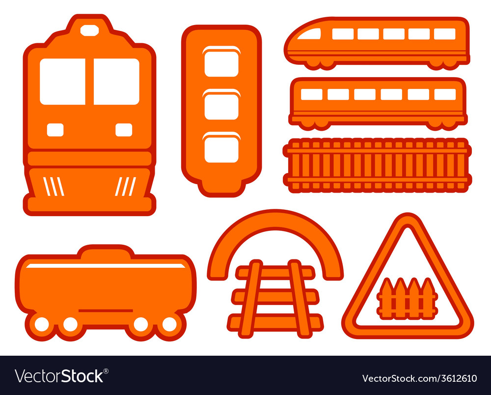 Yellow rail road icons set vector | Price: 1 Credit (USD $1)