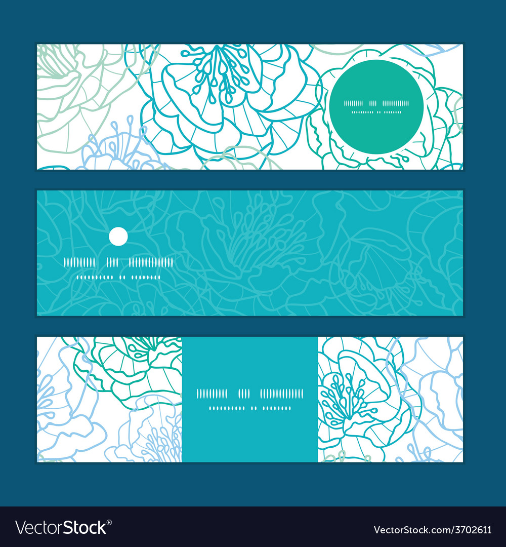 Blue line art flowers horizontal banners vector | Price: 1 Credit (USD $1)