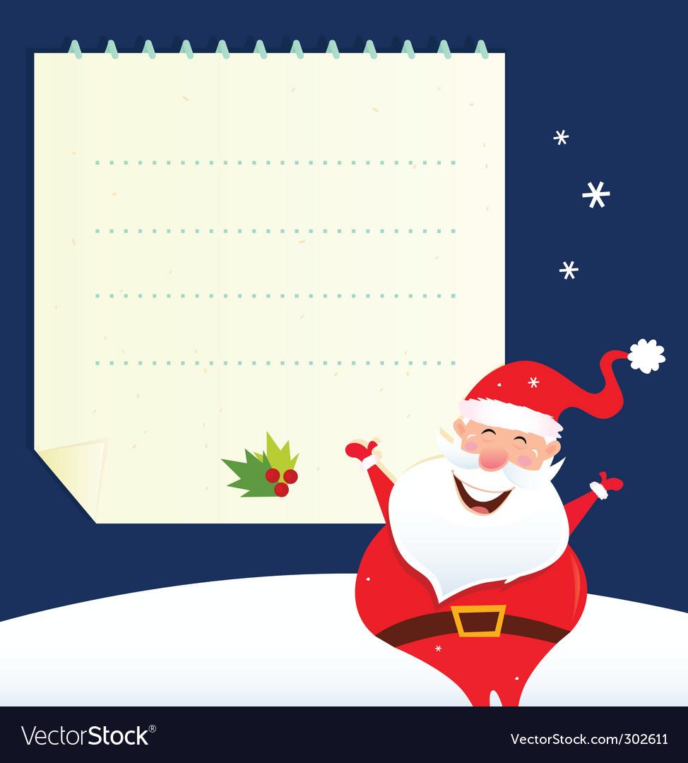 Christmas santa and blank note vector | Price: 1 Credit (USD $1)