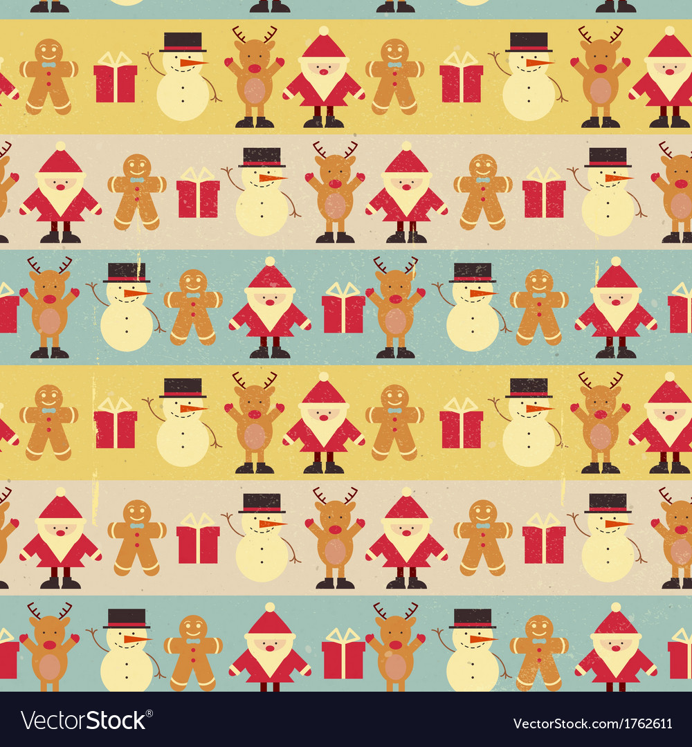 Christmas seamless vintage background vector | Price: 1 Credit (USD $1)