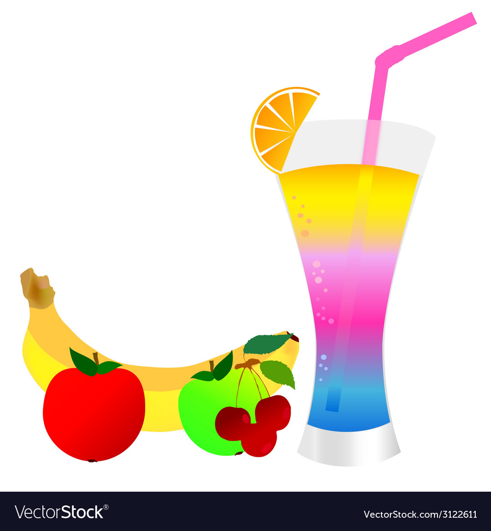 Cocktail with fruit vector | Price: 1 Credit (USD $1)