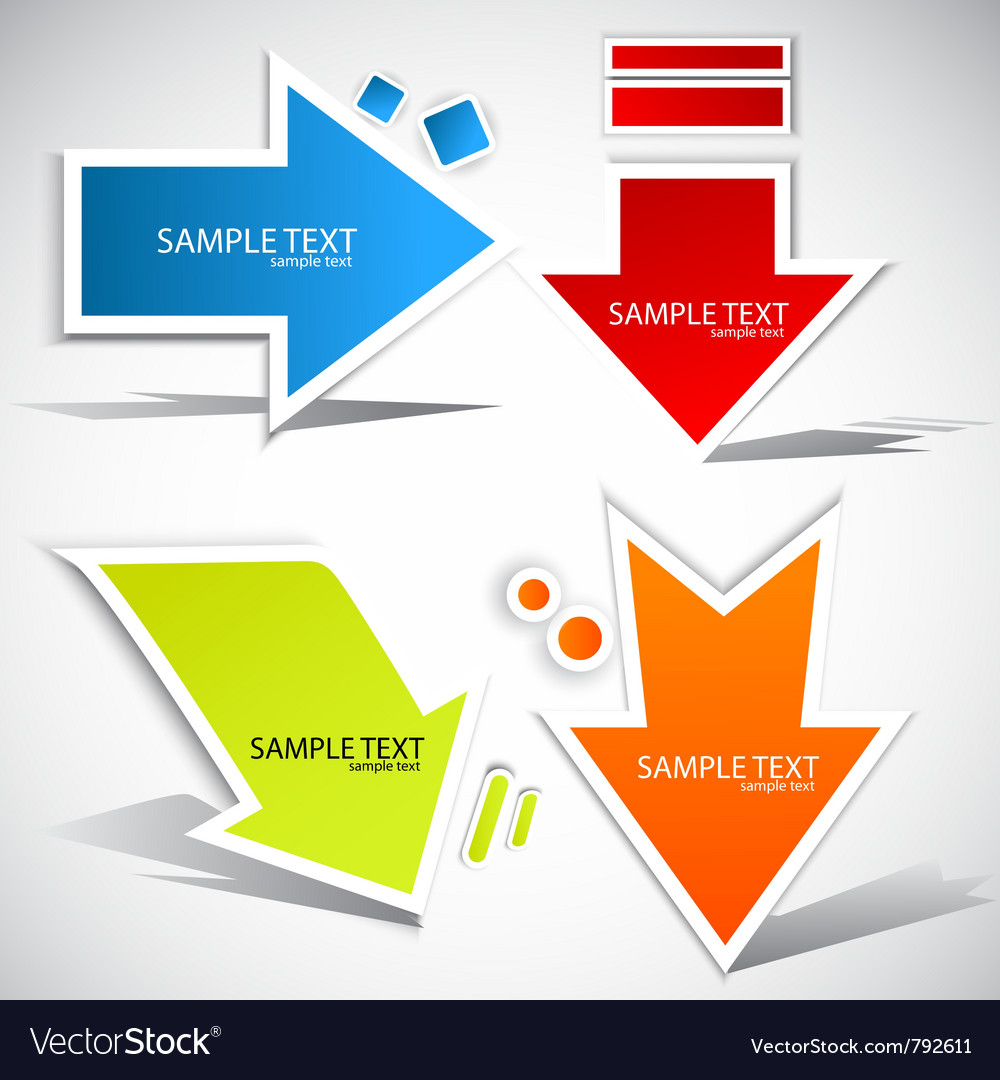 Colorful paper arrow for speech vector