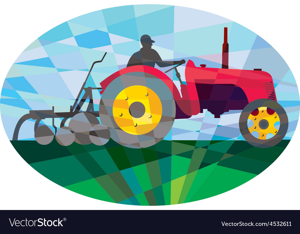 Farmer driving vintage farm tractor oval low vector | Price: 1 Credit (USD $1)