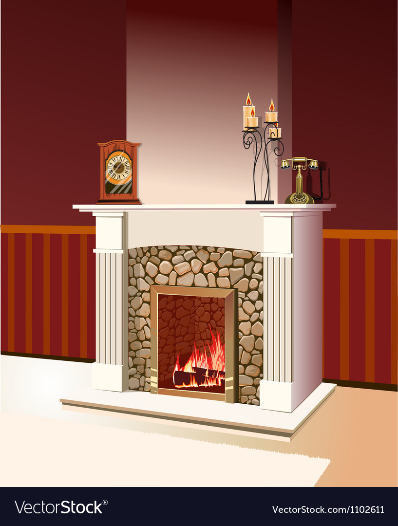 Fireplace with a fire burning vector | Price: 1 Credit (USD $1)