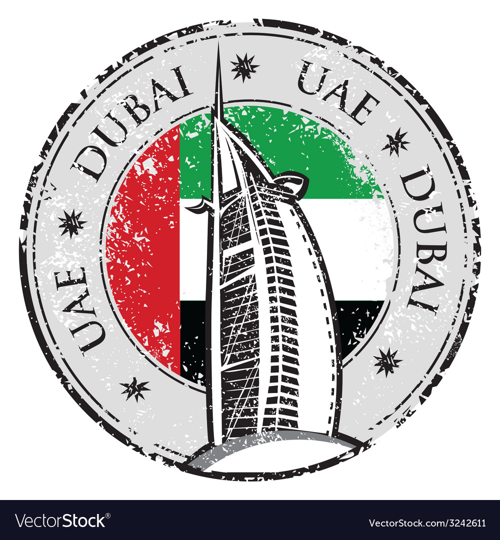 Grunge stamp with the flag and town dubai emirate vector | Price: 1 Credit (USD $1)