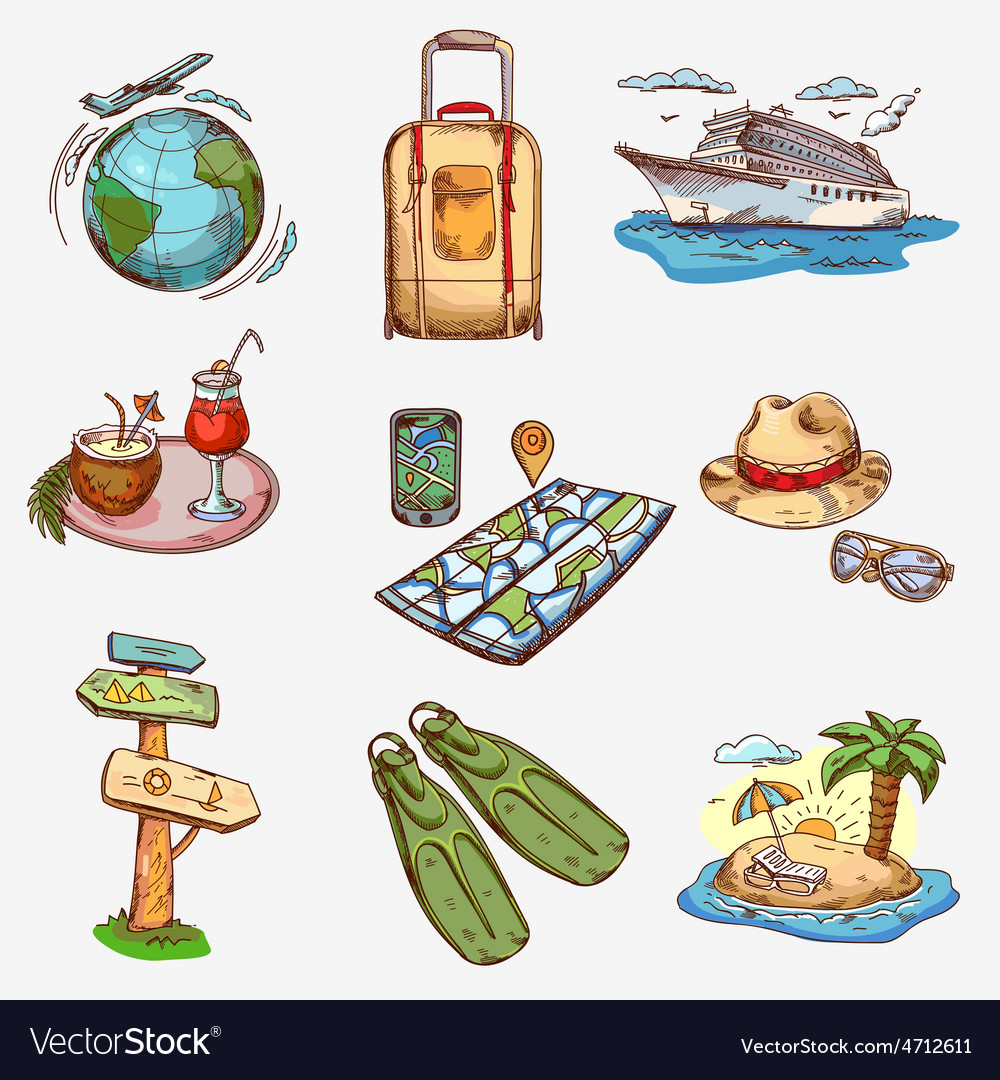 Hand drawn travel icons traveling on airplane vector   Price: 1 Credit (USD $1)
