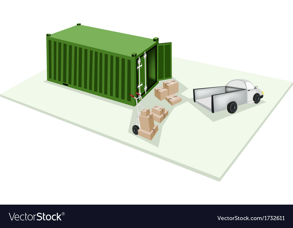 Hand truck loading cardboard box into container vector | Price: 1 Credit (USD $1)