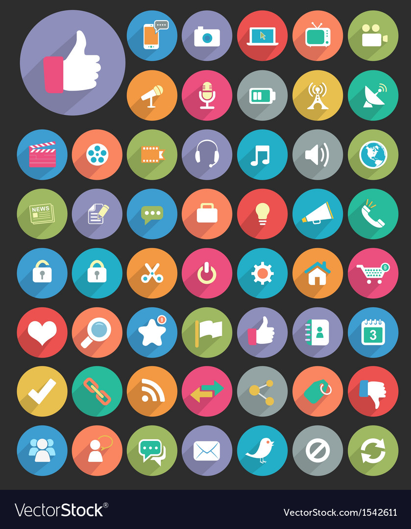 Long shadow icons vector | Price: 1 Credit (USD $1)