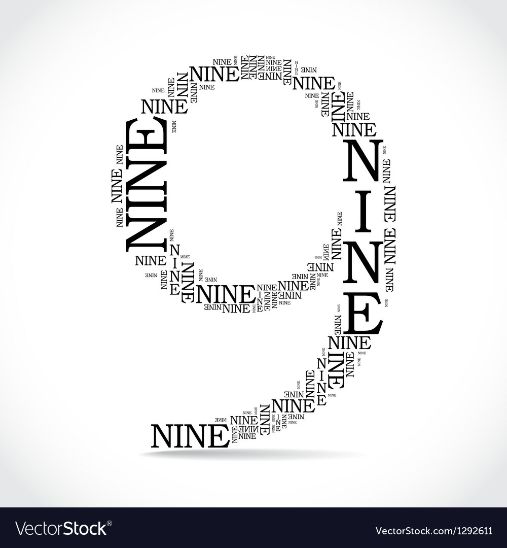 Number nine created from text vector | Price: 1 Credit (USD $1)
