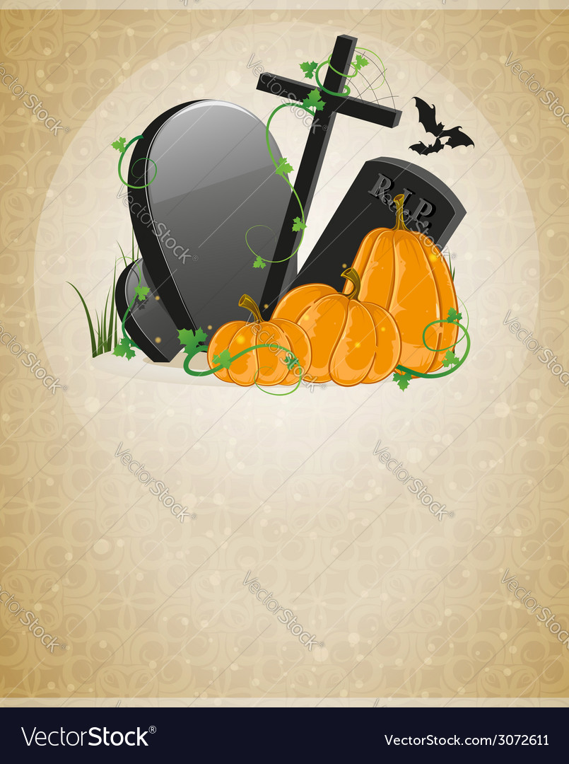 Pumpkins and graves vector | Price: 3 Credit (USD $3)