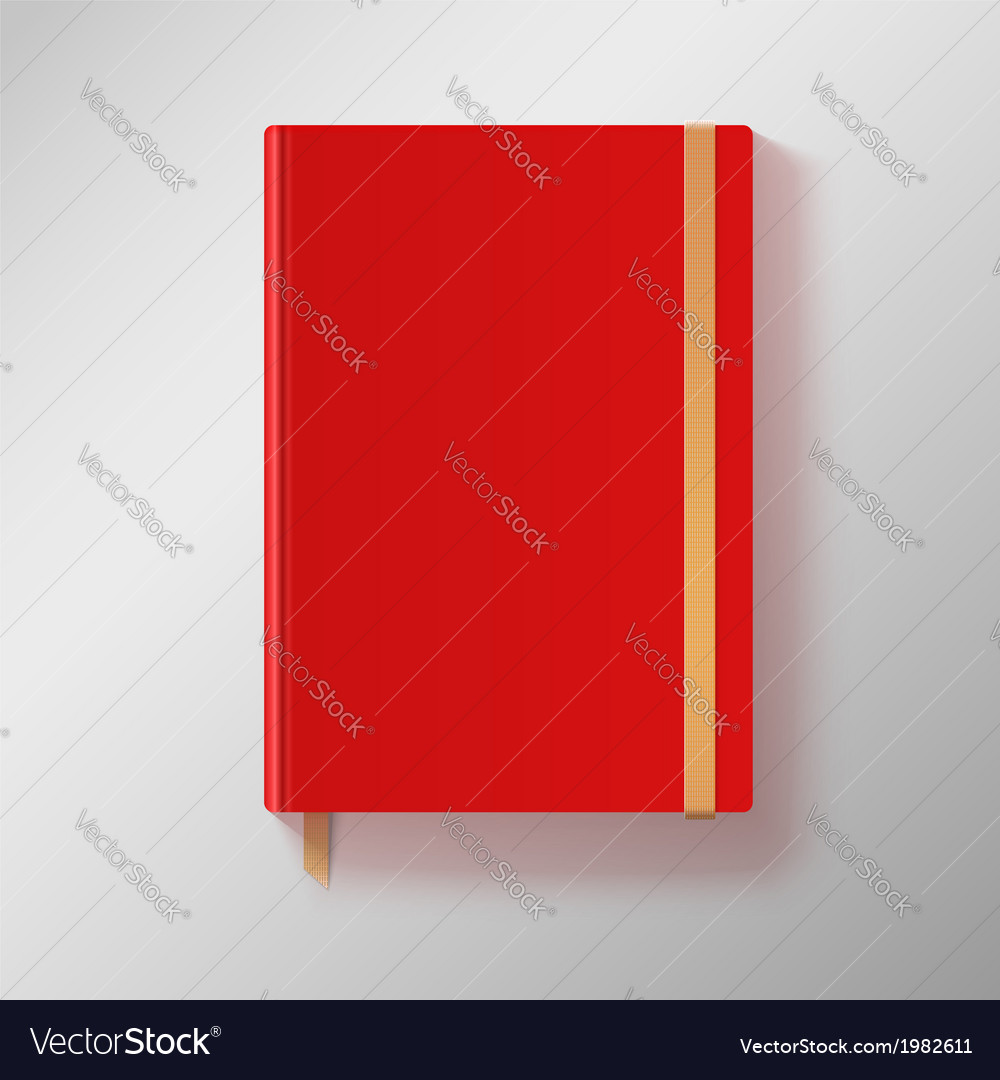 Red copybook with elastic band and gold bookmark vector | Price: 1 Credit (USD $1)