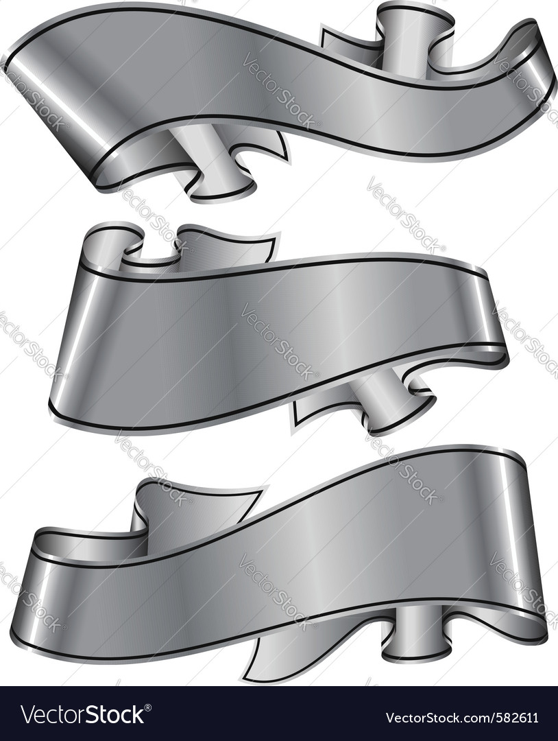 Silver ribbons vector | Price: 1 Credit (USD $1)