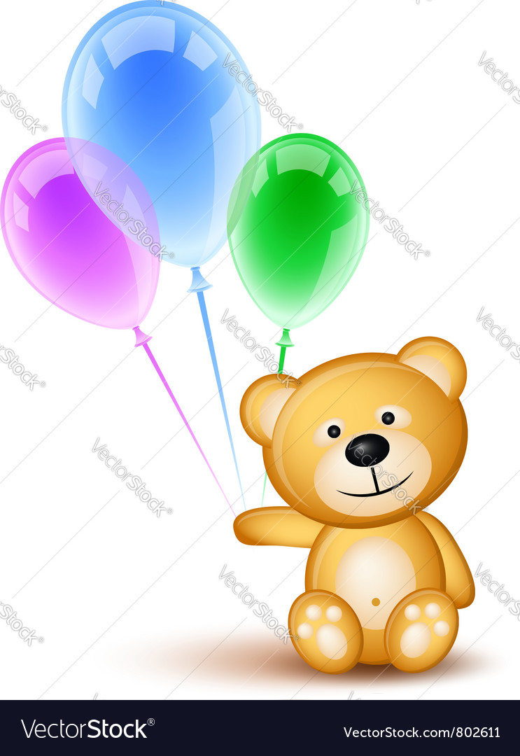 Teddybear holding balloons vector | Price: 1 Credit (USD $1)