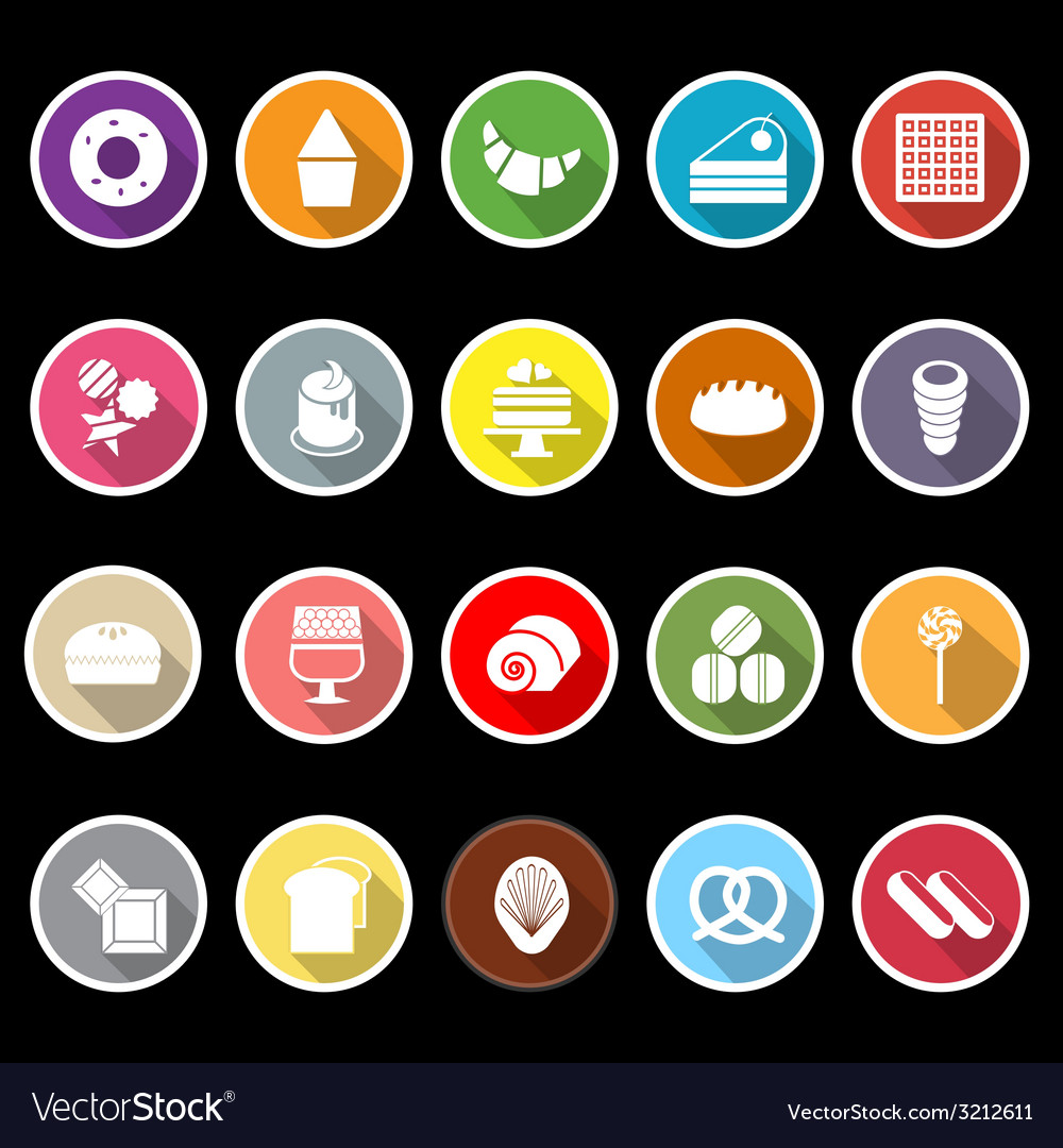 Variety bakery flat icons with long shadow vector | Price: 1 Credit (USD $1)