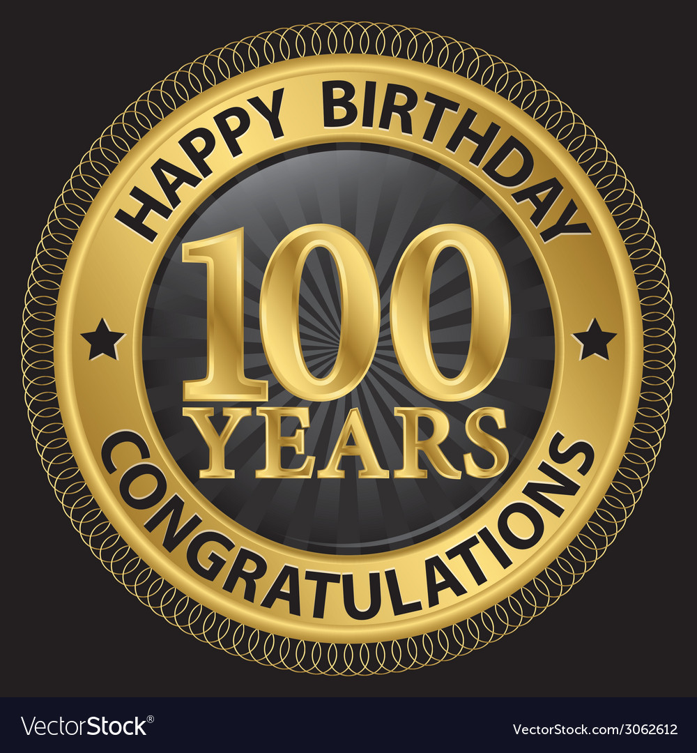 100 years happy birthday congratulations gold vector | Price: 1 Credit (USD $1)