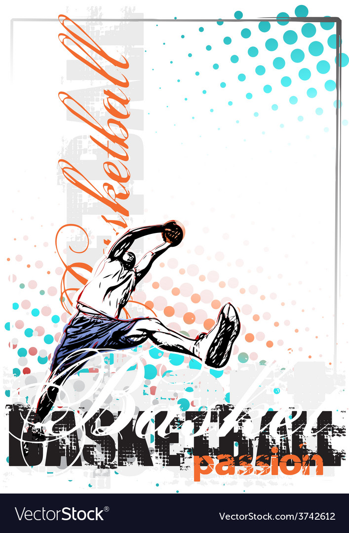 Basketball poster background vector | Price: 1 Credit (USD $1)