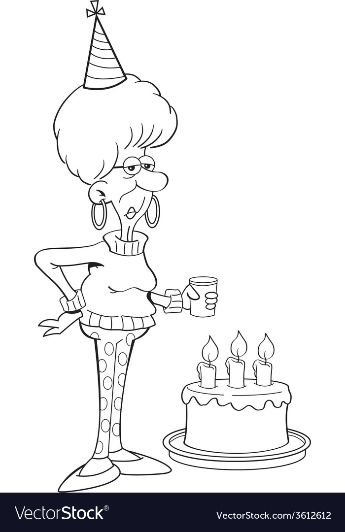 Cartoon senior citizen lady with a birthday cake vector | Price: 1 Credit (USD $1)