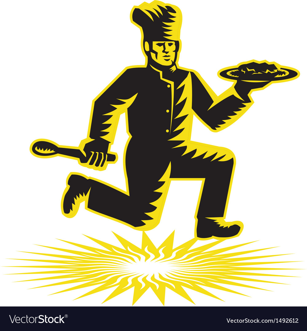 Chef cook serve plate running retro vector   Price: 1 Credit (USD $1)