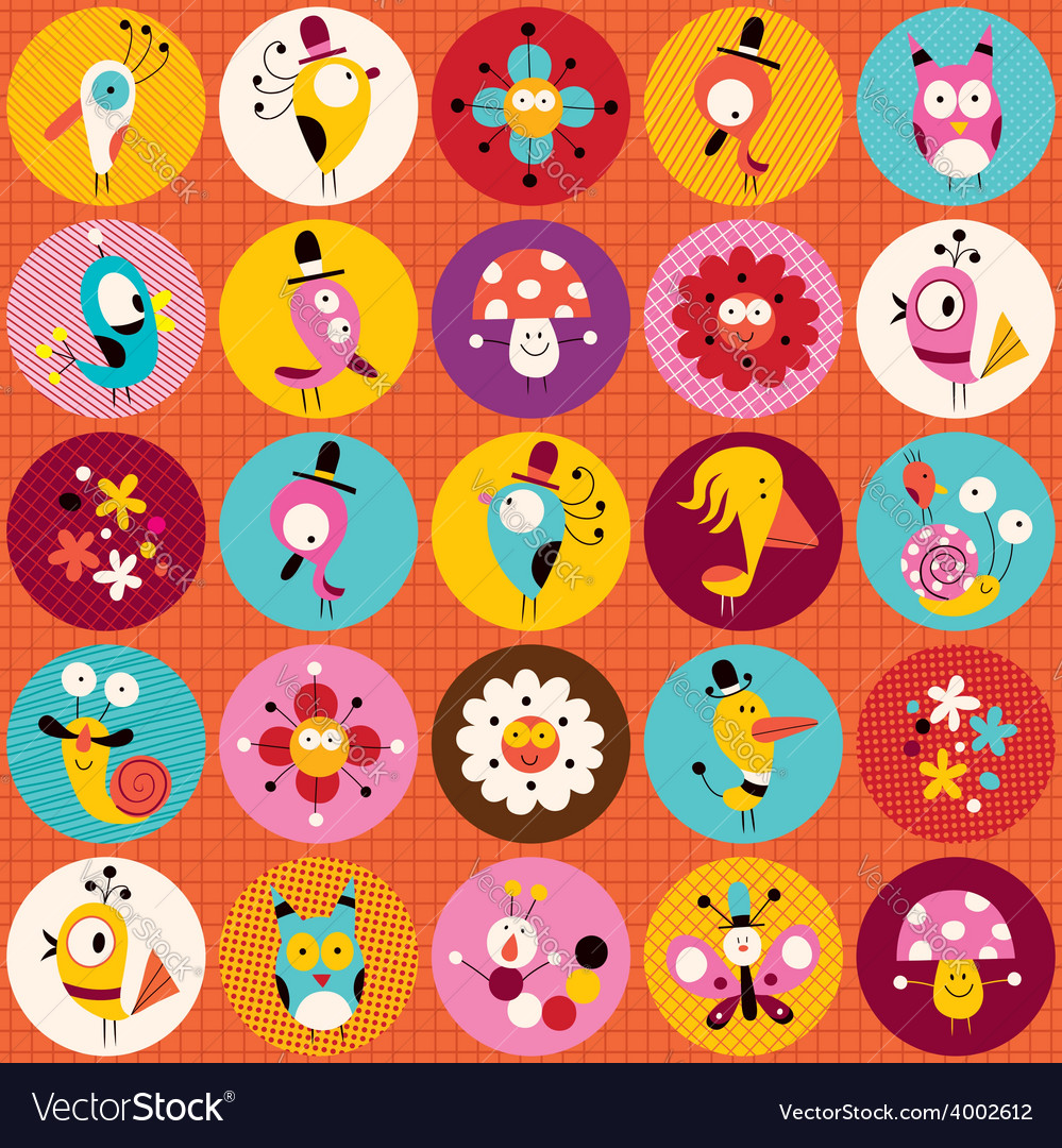 Cute characters nature circles pattern vector | Price: 1 Credit (USD $1)