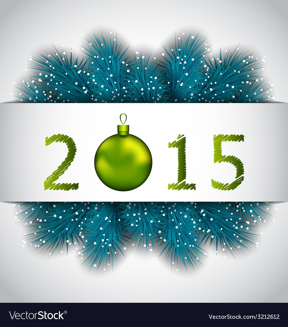 Happy new year background with fir twigs - vector | Price: 1 Credit (USD $1)