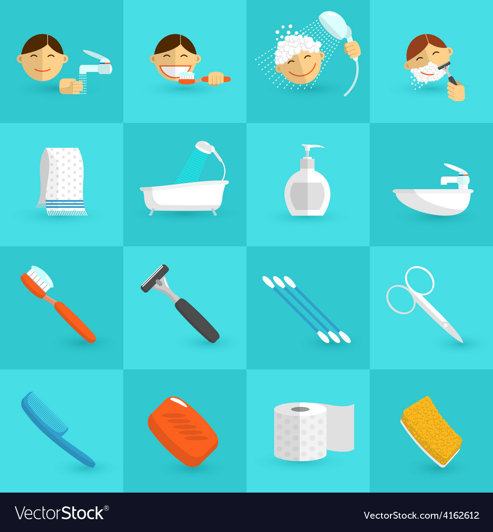 Hygiene icons flat vector | Price: 1 Credit (USD $1)